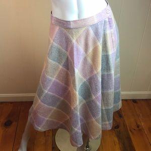 Vintage 70s/80s Pale Plaid Circle Skirt
